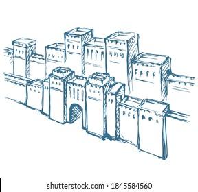 Babylonisches Tor. Vektorgrafik-Szene