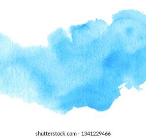 Blue color liquid watercolor texture hand drawn vector splash background, wallpaper, card, art design, poster