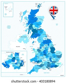 Blue color map of the Great Britain. All elements are separated in editable layers clearly labeled.