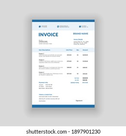 blue color minimal business invoice template vector format
