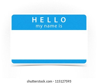 Blue Color Name Tag Blank Sticker HELLO My Is With Drop Gray Shadow On White