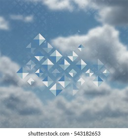 Blue color pattern with rhombuses, abstract design geometrical vector background. Simple modern stylish texture