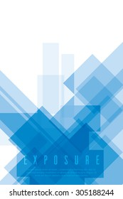 Blue color poster on white background. Vector illustration. Blue color double exposure abstract poster.