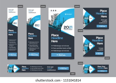 Blue Color Scheme with City Background Corporate Web Banner Template in multiple sizes. Easy to adapt to Brochure, Annual Report, Magazine, Poster, Corporate Advertising media, Flyer, Website.