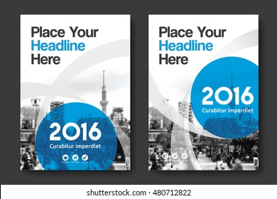 Blue Color Scheme with City Background Business Book Cover Design Template in A4. Easy to adapt to Brochure, Annual Report, Magazine, Poster, Corporate Presentation, Portfolio, Flyer, Banner, Website