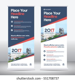 Blue Color Scheme with City Background Business Roll Up Design Template.Flag Banner Design. Can be adapt to Brochure, Annual Report, Magazine,Poster, Corporate Presentation, Portfolio, Flyer, Website
