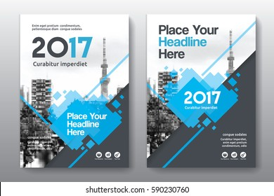 Blue Color Scheme with City Background Business Book Cover Design Template in A4. Can be adapt to Brochure, Annual Report, Magazine,Poster, Corporate Presentation, Portfolio, Flyer, Banner, Website.