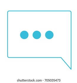 blue color silhouette of speech square with ellipsis symbol vector illustration