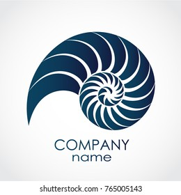 blue color snail shell spiral shape logo
