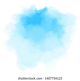 Blue color vector hand drawn watercolor liquid stain. Abstract aqua smudges scribble drop element for design, illustration, wallpaper, card
