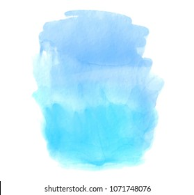 Blue color watercolor brush paint paper texture vector stain. Abstract colorful hand drawn aquarelle isolated artistic grunge element for card, art design, poster, tag