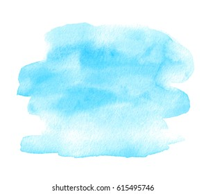 Blue color watercolor hand drawn isolated vector shape stain on white background for text design, web. Brush paint paper texture aquarelle abstract element for card, wallpaper, print