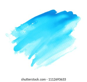 Blue color watercolor isolated vector striped blur stroke on white background. Hand drawn colorful paper texture scribble drip liquid smear element for banner, tag, design, border