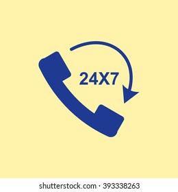Blue Colored 24X7 Call Icon on Light Orange Background. Eps-10.