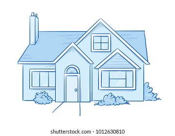 Blue colored detached, single family house with garden. Hand drawn cartoon sketch vector illustration, marker style coloring.