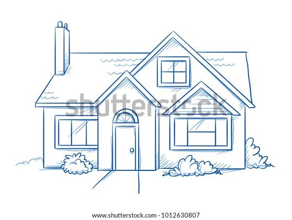 Blauer, freistehendes Einfamilienhaus mit Garten. Handgezeichnete Linie Art Cartoon Vektorgrafik.