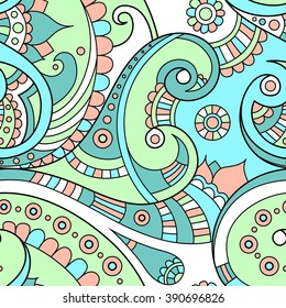 Blue colored ethnic Indian doodle seamless vector pattern, beautiful paisley ornament