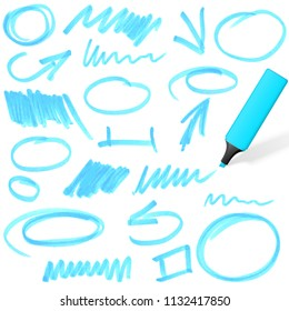 blue colored highlighter with different hand drawn markings