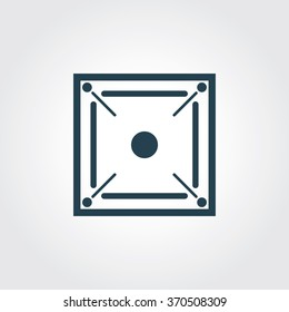 Blue Colored Icon of Carom Board On Gray Color Background. Eps-10.
