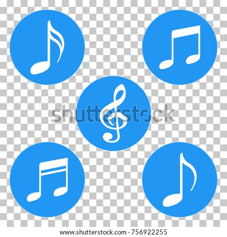 Blue Colored Music Notes Symbols Icons Stock Vector Royalty Free