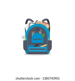 Blue colored school backpack with school accessoires. Backpack with pockets and zipper. Education and study back to school back pack. Pens and pencils, books and copybooks. Schoolbag or knapsack.
