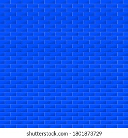 Blue colorful brick wall architecture interior, backdrop, abstract background texture wallpaper vector illustration graphic design pattern seamless