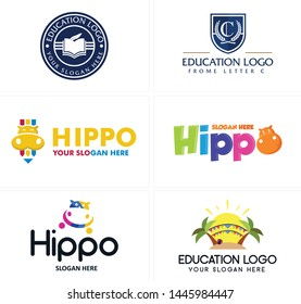 Blue colorful line art Badge logo design book head hippo and sun with palm suitable for education kindergarten playground school business tutorials academia