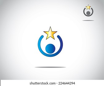 blue colorful young person work holding a yellow golden star award of success, excellence and amazing achievement - simple unique concept illustration of business leadership & innovation