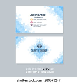 Blue Colors Abstract Hexagon Elements Low Poly Style Business Card Design