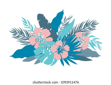 Blue colors Palm leaves and tropical flowers retro vector illustration. Bouquet with monstera, banana leaf, and chinese lily pink hibiscus isolated on white background.