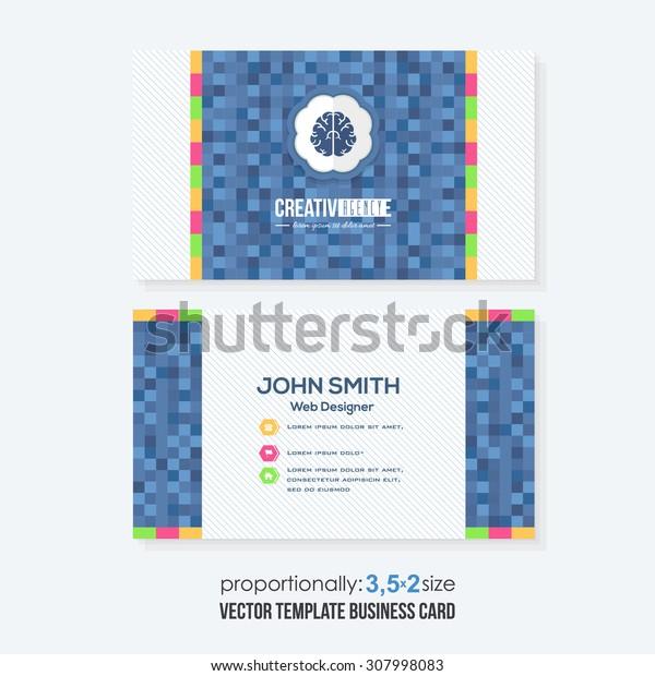 Blue Colors Squares Elements Business Cards Design
