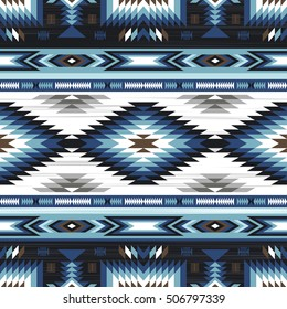blue colors tribal vector seamless navajo pattern. aztec abstract geometric art print. ethnic hipster vector background. Wallpaper, cloth design, fabric, paper, cover, textile template.