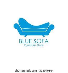 Blue comfy sofa business sign vector template for furniture store, home decor boutique design template. vector illustration