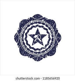 Blue communism icon inside distress rubber stamp with grunge texture