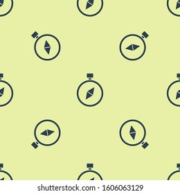 Blue Compass icon isolated seamless pattern on yellow background. Windrose navigation symbol. Wind rose sign.  Vector Illustration
