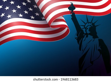 Blue composition with silhouette of waving USA flag, independence day, design element.