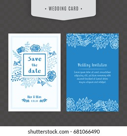 Blue concept floral wedding invitation card, Card Template Floral Bridal vector.