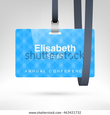 blue conference badge name tag placeholder stock vector royalty