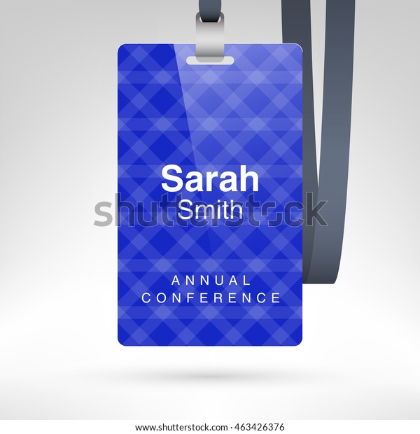 Blue Conference Badge Name Tag Placeholder Stock Vector