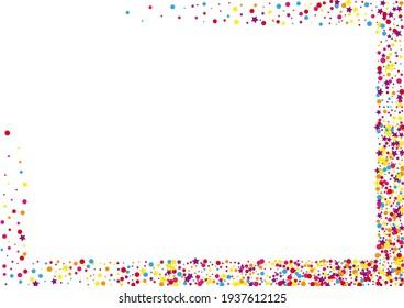 Blue Confetti Decoration. Carnival Dot Background. Yellow Circle Colorful Illustration. Ribbon Star Decoration.