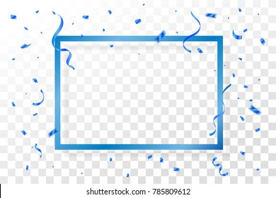 Blue Confetti And Frame With  Ribbons Isolated On Background. Celebration Event & Birthday. Vector
