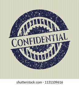 Blue Confidential distress grunge style stamp