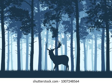 Blue coniferous forest with a silhouette of a fallow deer - vector