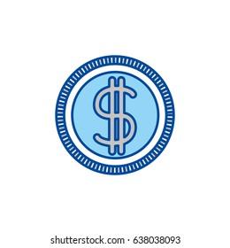 Blue Contour Of Money Coin Icon Vector Illustration