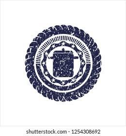 Blue cooking pot icon inside grunge stamp