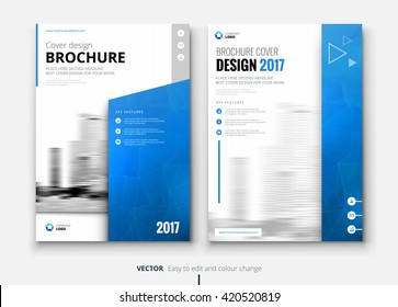 Blue Corporate business annual report brochure flyer design. Leaflet cover presentation. Catalog with Abstract geometric background. Modern publication poster magazine, layout, template. A4 size