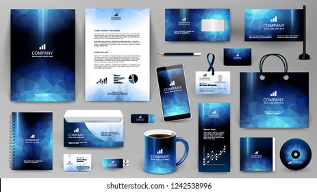 Blue corporate identity promotional set. Professional branding design template.  Business stationery mock-up. Folder, letter, cover, broshure, letterhead, coffee cup, business card, bag, badge