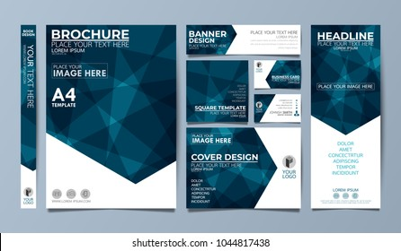 Blue corporate identity set flyer cover business brochure vector design, Leaflet advertising abstract background, Modern poster magazine layout template, Annual report for presentation.