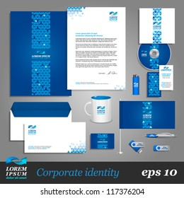 Blue corporate identity template with digital elements. Vector company style for brandbook and guideline. EPS 10