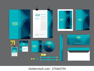 blue corporate identity template  for your business includes CD Cover, Business Card, folder, ruler, Envelope and Letter Head Designs
